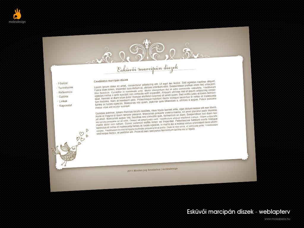 Esküvői marcipán díszek weblaptervezés