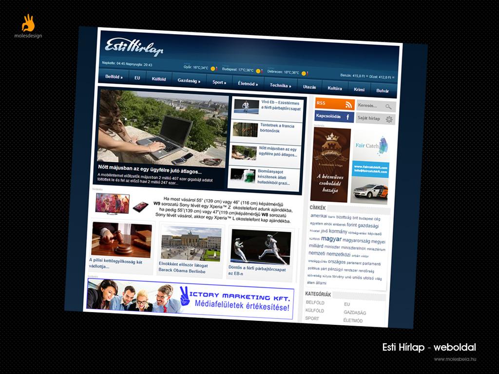 Estihírlap - weblaptervezés, weboldalüzemeltetés