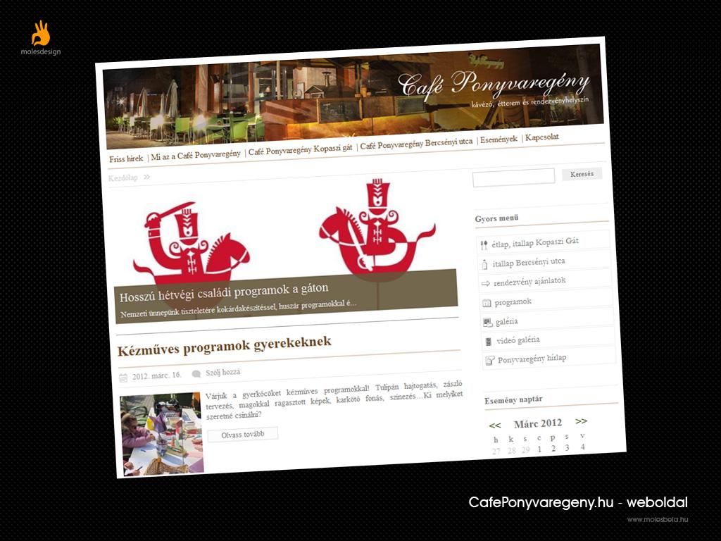 Café Ponyvaregény - weblaptervezés