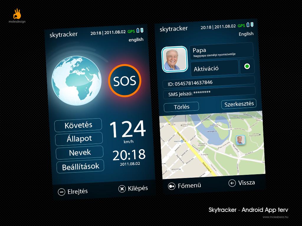 Skytracker applikáció design