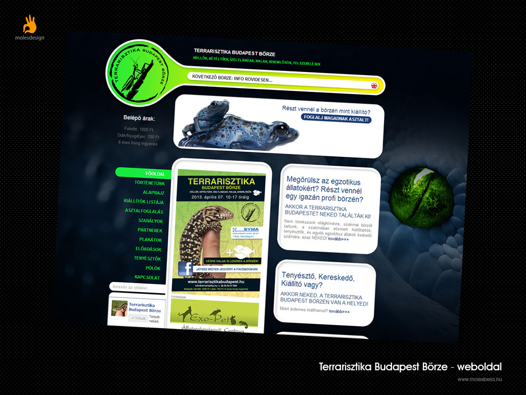 Terrarisztika Börze - weblaptervezés